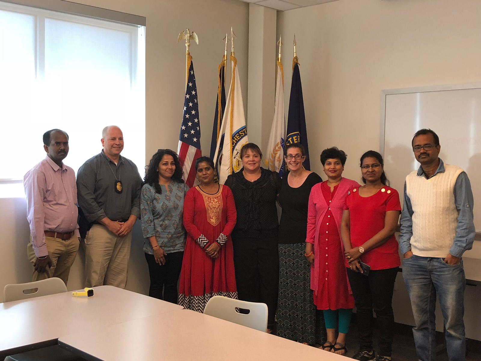 Our Telugu interpreters interpreting for a group of international visitors from India in New Hampshire